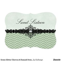 Green Glitter Chevron & Damask Sweet 16 Invitation Matching products in the GoDesign store! Custom birthday party invitations / invites #invitations #invites #birthdayparty  #sweetsixteen #sweet16