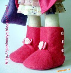 Puppen Schuhe aus Filz nähen / Stiefel - Kozačky na panenku Tatiana C