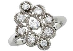 """This would look amazing in black gold. Edwardian Antique Style """"Bella"""" Engagement Ring Inspired by Twilight"""