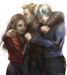 does anybody know who the guy in the middle is? Hawkeye? supposed to be their unknown dad? :\