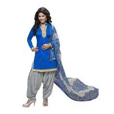 Casual Wear Glace Cotton Blue Patiala Suit Dress Material  - 70225