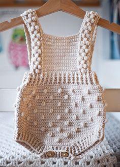Ravelry: Bobble Romper pattern by Mon Petit Violon, crochet pattern, baby onesies Crochet Romper, Crochet Bebe, Double Crochet, Single Crochet, Crochet Hooks, Crochet Top, Baby Patterns, Knitting Patterns, Crochet Patterns