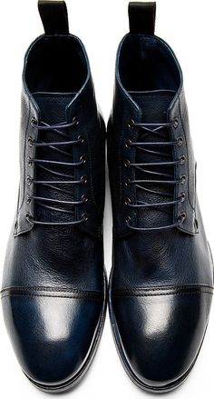 Paul Smith: Navy Leather Cesar Boots #paulsmith #fashion