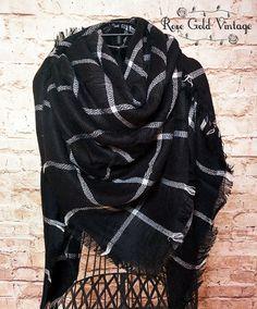 Oversized Black & White Plaid Blanket Scarf – Rose Gold Vintage