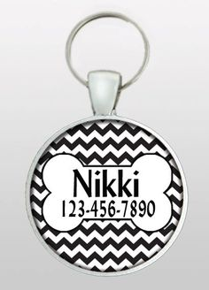 Pet ID Tag - Dog Name Tag - Unique Chevron Dog Tag - Gifts for Girl Dogs - Gifts Under 10 - Girly Dog Tag - Dog ID Tag - Design No. 279