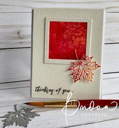 handmade greeting card from Rambling Rose Studio by Billie Moan . piece of watercolor art framed with die cut square . lacy look die cut maple leave in Fall colors . Stampin' Up! Leaf Cards, Craft Projects For Kids, Class Projects, Stampinup, Card Making Tutorials, Thanksgiving Cards, Fall Cards, Card Sketches, Watercolor Cards