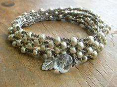 Silver crochet wrap bracelet Bohemian jewelry Hill por 3DivasStudio, $40,00