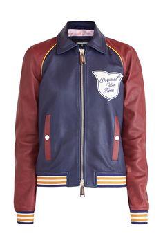 Женская куртка DSQUARED2 кожаные, цвет мульти купить за 143900 руб. SS18 в интернет  магазине ea7b7620c71