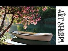 How to paint with Acrylic Lakeside Boat and Pink Flowering Tree - YouTube