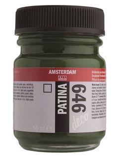Talens Amsterdam deco patina.  Op basis van plantaardige oliën.   Voor het patineren van geschilderde of onbehandelde enigszins absorberende oppervlakken. Bevat lijnolie.   Leverbaar in 6 verschillende kleuren.  Potje 50 ml.