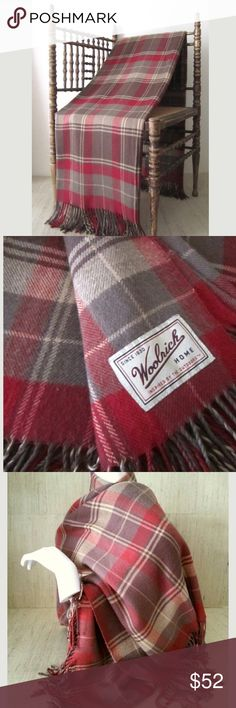 """Vintage Woolrich Tartan Shawl/Wrap Delicious & Cozy wool blend plaid tartan! This is technically a very light blanket, but I purchased it because I thought it was a wrap(which I like it much better as anyways ) •Circa: 1980s-90s •  colors: chocolate brown, red, gray, cream • Light weight wool blend  THE M E A S U R E S: • 52"""" wide x 64""""  • Weighs 1 lb 6oz  THE C O N D I T I O N: Excellent Used Vintage.  No holes.  Fringe is in great shape too! Woolrich Jackets & Coats"""
