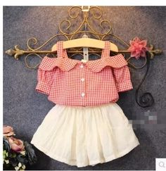 2016 Summer New Girls Lovely Princess Skirts Suit Kids Plaid Off Shoulder T-Shirt White Skirt Twinset Children Clothing Set Fashion Kids, Baby Girl Fashion, Little Girl Dresses, Girls Dresses, Kind Mode, Baby Wearing, Outfit Sets, Cute Dresses, Toddler Girl