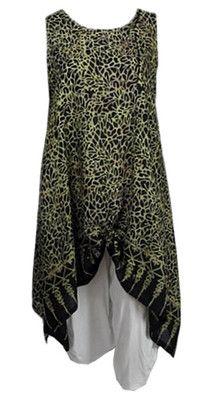 LT06 Long Tunika Lagenlook Zipfel schwarz gold Onesize 44 - 58 Mollige Mode