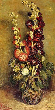 sugarmeows: Vase with Holyhocks – Vincent van Gogh (Dutch, 1853–90)