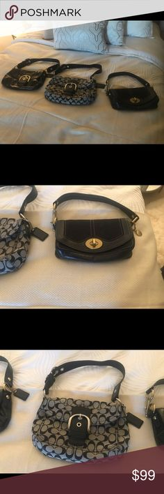 3 Coach Purses 3 beautiful coach purses that come as a set. 2 black and 1 black and grey purse are similar styles and are very versatile. Purses have been used once or twice and remain in very good condition. Coach Bags