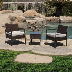 Belleze 3 PC Rattan Patio Furniture Set Wicker Garden Lawn Chair Cushioned Seat Coffee Table, Brown. Great outdoor patio furniture item set, perfect for your garden, backyard, patio or lawn. Table with removable tempered glass adds a sophisticated touch and allows you to place drinks, meals, or decorative items on top. Complete with seat cushions, it includes two chair and a coffee table with tempered glass. Patio set features a classy and comfortable fabric cushion, which matches with a...