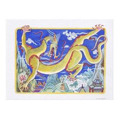 Customizable #Animal#Representation #Animal#Themes #Astrology #Chinese#Culture #Chinese#Zodiac#Sign #Close#Up #Color#Image #Day #Dragon #Horizontal #Illustration#And #Illustration#Technique #No#People #One#Animal #Outdoors #Studio#Shot #Watercolor #White#Background #Year#Of#The#Dragon Illustration of Cheerful Dragon representing Canvas Print available WorldWide on http://bit.ly/2hw5eBO