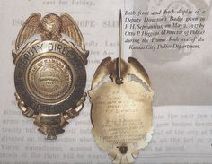 Both front and back display of a Deputy Director's Badge given to F.H. Sepvantius, on May 2, 1937 by Otto P. Higgins (Director of Police) during the Home Rule era of the Kansas City Police Department