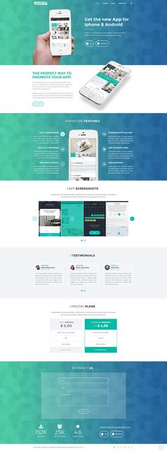 RIDER it's a Clean, Flexible and Fully Responsive HTML5 template, that offers endless possibilities to customize your own business or personal website. #website #webdesign #template #html #homepage #landingpage #app #showcase #product #onepage #clean #modern #creativemarket #green #blue