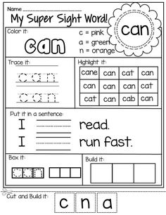 These worksheets are perfect to help your young students learn and practice PrePrimer Sight Words. They can be used in small groups, individually or are great to send home for homework. For each word your students will color, trace, highlight, put it in Kindergarten Sight Words List, First Grade Sight Words, Sight Word Practice, Kindergarten Reading, Kindergarten Activities, Basic Sight Words, Subtraction Kindergarten, Listening Activities, Children Activities
