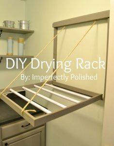 Hometalk.com DIY EASY Tutorial http://imperfectlypolished.com/2012/06/13/diy-pull-down-drying-rack/ Supplies needed: sisal rope 2″ strips of wood to desired size wood dowels trim nail gun level drill screws miter saw hinges