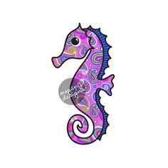 Purple Paisley Seahorse Car Decal - Colorful Beach Bumper Sticker Laptop Decal Teal Yellow Pink Nautical Ocean Sea Horse Sticker
