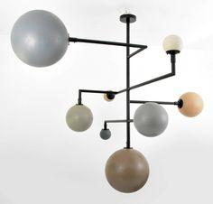 """Large """"Orbit"""" Chandelier in Plastic + Metal"""