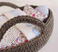 Dolls Moses Basket and bedding set / vintage fabrics / crochet, Oh Susannah on Madeit
