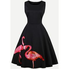 Flamingo Embroidered Swing Dress ($7.99) ❤ liked on Polyvore featuring dresses, trapeze dress, broderie dress, swing dresses, embroidery dresses and embroidered dress