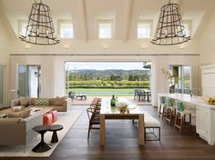 Open Living Room Ideas - Best Open Kitchen Living And Dining Concepts Perfect For Modern And Traditional Interior Styles Open Plan Kitchen Living Room, Open Plan Living, Open Space Living, Living Room Open Concept, Open Living Rooms, Kitchen Dinning, Kitchen Wood, Open Spaces, Kitchen Chairs