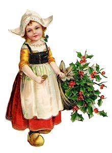 Vintage - Two children with hats and holly | Public domain Vintage ...