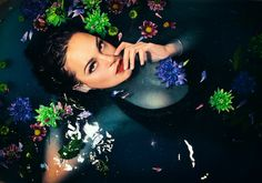 #bath photoshoot#brunette#dark deep waters# mystery#lush bath bomb experiment @c00cla instagram
