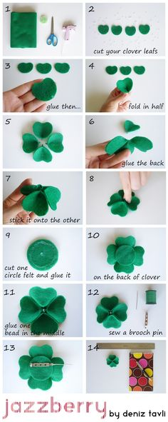 To make this felt clover, you just need a felt sheet, beads, scissor and a glue gun. You can use it as a brooch, magnet or head band. Here I...
