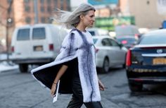 Two-toned fur poncho // NYFW street style... - Street Style