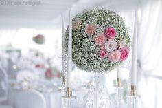 Centrotavola dalle romantiche sfumature del rosa