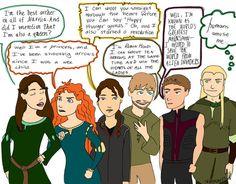 Katniss, Hawkeye, Robin Hood, Legolas, Merida, Susan Pevensie