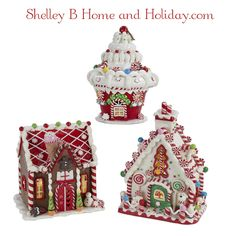 Shelley B Home and Holiday - Candy Gingerbread Christmas Houses set of 3, $125.50 (http://shelleybhomeandholiday.com/candy-gingerbread-christmas-houses-set-of-3/)