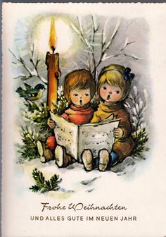 AK, WEIHNACHTEN, Anita Rahlwes, zwei Kinder singen andächtig bei Kerzenschein* • EUR 6,90 - PicClick DE