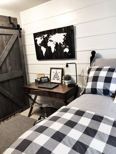 Affordable Bedroom Decor Ideas For Your Little Boys - If you are a parent of a teenage boy or have been assigned a job of designing bedroom for a teenage boy then before you even think of any decorating i. Modern Farmhouse Bedroom, Farmhouse Style Kitchen, Modern Farmhouse Kitchens, Farmhouse Decor, Modern Bedroom, Contemporary Bedroom, Modern Contemporary, Cool Bedrooms For Boys, Boys Bedroom Decor