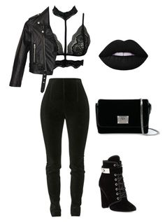 """Untitled #2"" by empresslovely ❤ liked on Polyvore featuring Balmain, Giuseppe Zanotti, Nasty Gal, Jimmy Choo and Lime Crime"