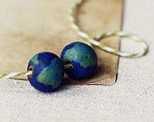Earth beads- handmade ceramic beads- TWO