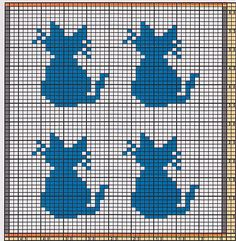 Here I offer only the chart pattern for a potholder. I am assuming that you are familiar with the double-faced knitting technique. charts animal Potholder Cats 3 pattern by Regina Schoenfeldt Double Knitting Patterns, Fair Isle Knitting Patterns, Knitting Charts, Baby Knitting, Cross Stitch Charts, Cross Stitch Embroidery, Cross Stitch Patterns, Pixel Crochet, Crochet Stitches