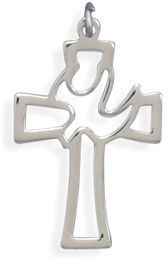 ApplesofGold.com - Cut Out Cross Pendant with Dove in Sterling Silver
