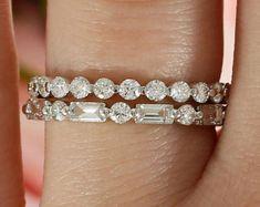 Diamond Band Stack, Set of 2 Wedding Bands in 14k White gold, Ring Stack, Three Quarter Stacking bands, Wedding Ring Stack, Baguette Band #weddingring