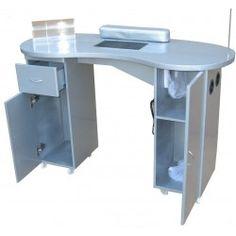 Table manucure avec aspiration chambre de filtre gris