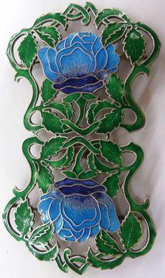 Art Nouveau Sterling Silver and Enamel Nurses Belt Buckle C1920 American