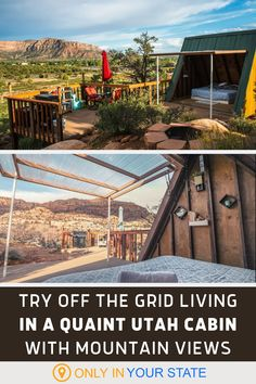 Try off grid living when you stay at this charming A-frame cabin in Utah with beautiful views of Zion National Park. Find peace surrounded by nature, enjoy the fire pit, deck, grill, and solar power for charging phones, and relax. I can't imagine a better tiny home! | Romantic Weekend Getaway | Local Travel | Bucket List Destinations | Staycation | Vacation Ideas Usa Roadtrip, Road Trip Usa, Vacation Spots, Vacation Ideas, Beautiful Places In America, Best Bucket List, Romantic Weekend Getaways, Stay Overnight, A Frame Cabin