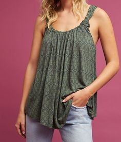 729671d9806f0e Anthropologie Top Medium Knotted Strap Scoop Neck Tank Green Scoop Shirt  New  Anthropologie  TankCami
