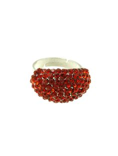 Ring Pave Crystal Stone Curved Metal Adjustable 1/2 Inch Tall 7/8 Inch Wide One Size
