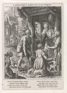 Raphaël Sadeler (I) | Heilige Odilia knielt voor de heilige Erhard, Raphaël Sadeler (I), Johann Mathias Kager, Matthäus Rader, 1615 | De H. Odilia van Odilienberg zit geknield voor de kluis van de H. Erhard, bisschop van Regensburg. Hij zegent haar. Naast haar staat een kreupele bedelaar. De prent heeft een Latijns onderschrift en is de tweeëntwintigste prent van een 60-delige serie met als onderwerp de heiligen van Beieren.
